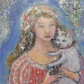 「フローラ妖精と白い猫」/石﨑道子