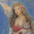 「フローラ妖姫と二匹の猫」/石﨑道子